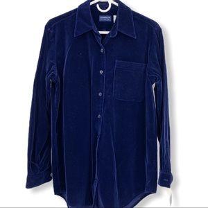 NWT Liz Claiborne Blue Velvet Long Sleeve Blouse